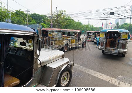 Jeepneys In Manila, Philippines
