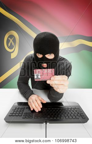 Hacker With Flag On Background Holding Id Card In Hand - Vanuatu