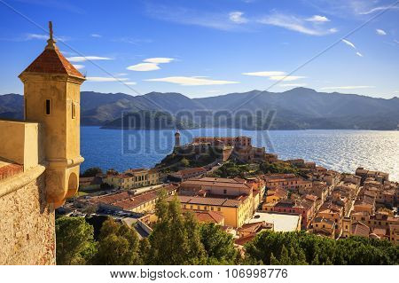 Elba Island, Portoferraio Aerial View From Fort. Lighthouse And Fort. Tuscany, Italy.