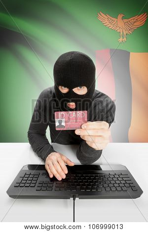 Hacker With Flag On Background Holding Id Card In Hand - Zambia