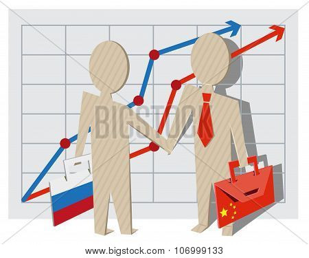 Businessmen of Russia and China shake hands