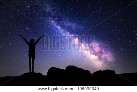 Milky Way. Night Sky With Stars And Silhouette Of A Woman