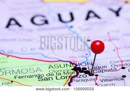 San Lorenzo pinned on a map of America