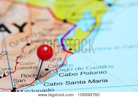 Rocha pinned on a map of America
