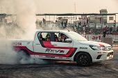 Pick-up Car Perform Burnout Tire On The Track poster
