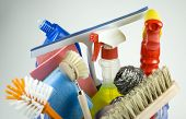stock photo of cleaning house  - a picture with everything you need for a clean home - JPG