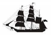 stock photo of sail ship  - vector illustration of sailing ship silhouette over white - JPG