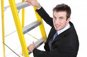 Handsome Business Man On Ladder