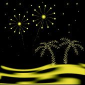 stock photo of glow-worm  - Vector palm tree with fireworks in desert - JPG