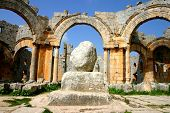 picture of euphrat  - ruins of historic simonis abbey in syria - JPG