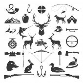 Set of Hunting and Fishing Objects Vector Design Elements Vintage Style. Deer head, hunter weapons,  poster