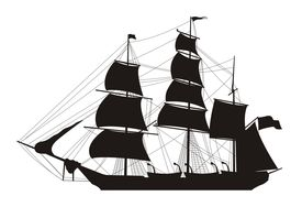 pic of pirate ship  - vector illustration of sailing ship silhouette over white - JPG