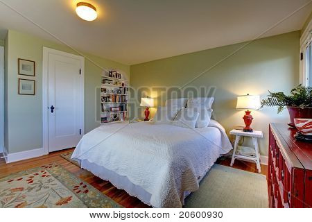 Green Fresh Bedroom With White Bedding