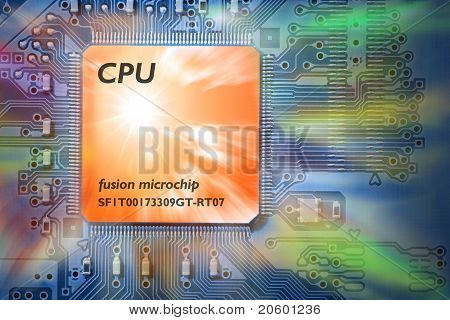 Concept Powerful, Fast CPU / Computer Processor Circuit Board