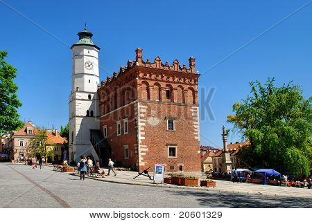 The View Of Sandomierz Downtown At Daylight. Poland.