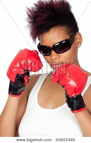 Exotic African Girl With Sunglasses And Boxing Gloves