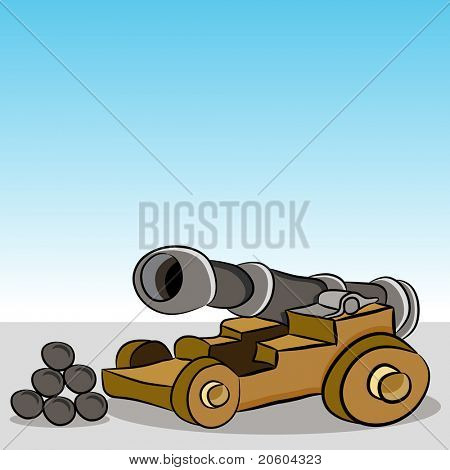 An image of a antique wooden cannon with cannonballs.