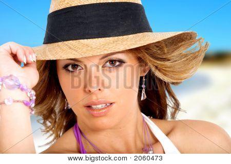 Fashion Girl Portrait At The Beach