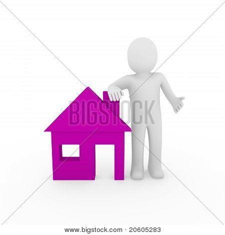 3D Man House Purple