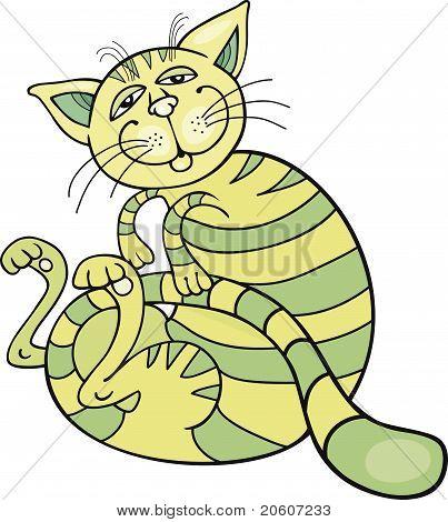 Happy Green Cat