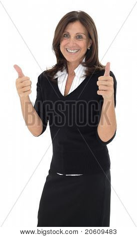 Attractive brunette woman in professional business suit standing on white pointing her thumbs up smiling