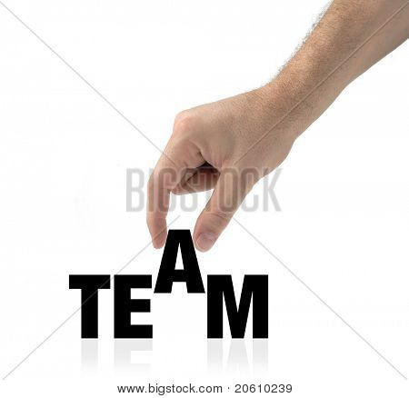 Hand and word team isolated on white creating a concept