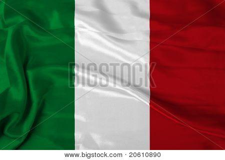 Italian flag on satin texture