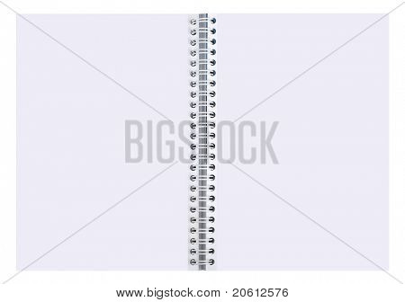 blank spiral notepad isolated on a white background