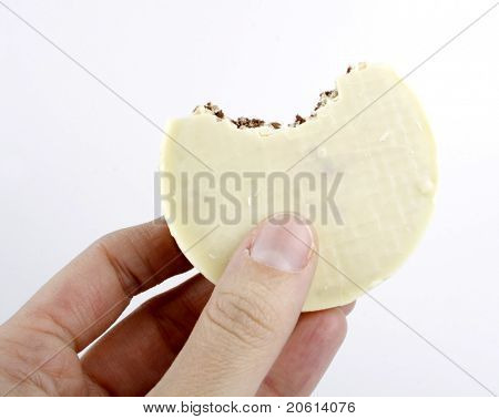 Closeup of white chocolate biscuit