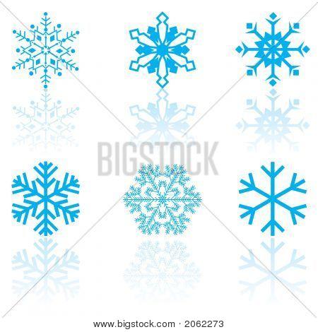 Seis copos de nieve