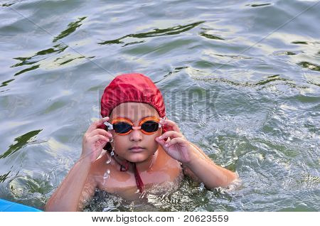 Young, Asian, Bengali Boy Swimming, Being Trained