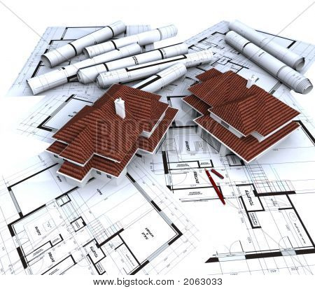 Aereal View Of Houses On  Blueprints