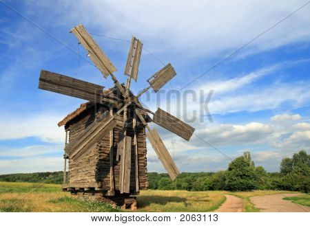 Windmill Near Road