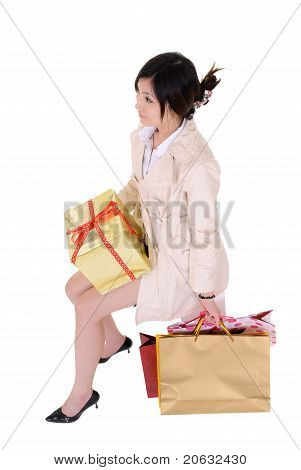 Sitting Shopping Woman