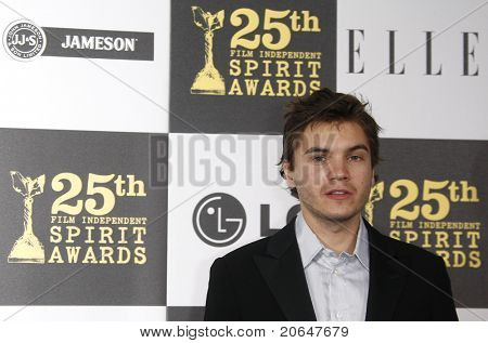 LOS ANGELES - MAY 5: Emile Hirsch at the 25th Independent Spirit Awards held at the Nokia Theater in Los Angeles on March 5, 2010.