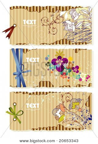 Corrugated cardboard with drawn  flowers