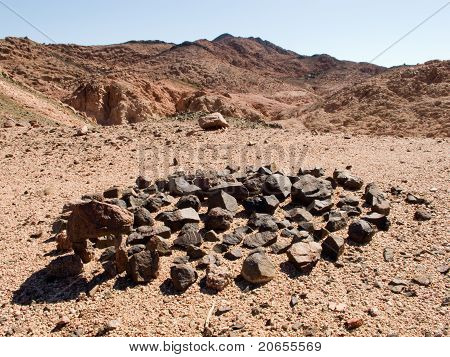 Mountain Landscape with circle of rocks