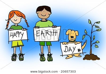 Kids And Dog Holding Happy Earth Day Signs