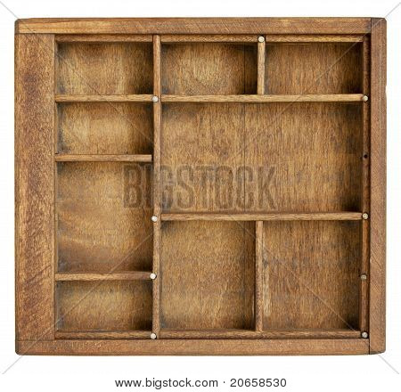 small wood box with dividers