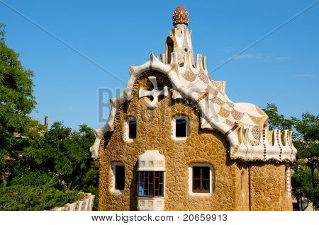BARCELONA, SPAIN - JUNE 5: The famous Park Guell on June 5, 2010 in Barcelona, Spain. The famous park, designed by Antoni Gaudi, was built between 1900 and 1914 and opened as a public park in 1920.