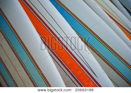 Row Of Striped Surfboards