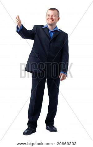 Businessman Gesturing In Blue Shirt.