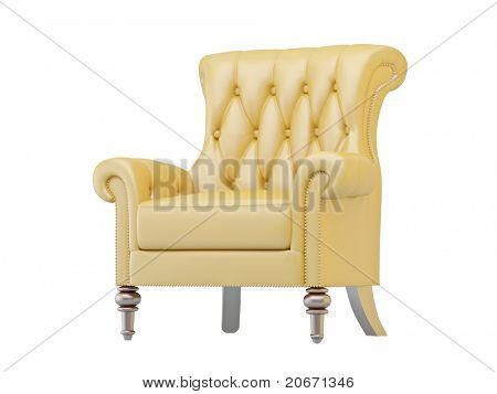 Leather luxurious armchair isolated on white background