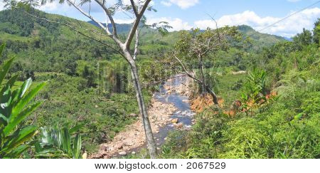 River With High Mounts, Andapa, Marojejy Park, Madagascar, Panoramique