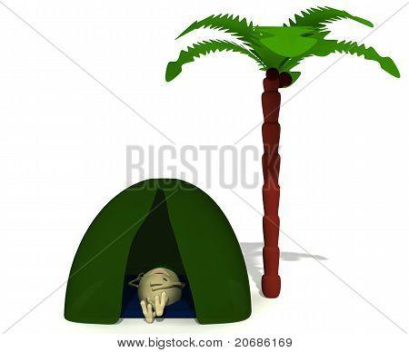 Puppet Rest Under Green Tent Near Palm