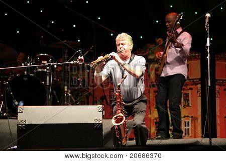 LVIL, UKRAINE - JUNE 3: Spyro Gyra in concert during Alfa Jazz Festival on June 3, 2011 in Lviv, Ukraine.