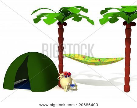 Puppet Drinking Blue Colored Cocktail Under Palm