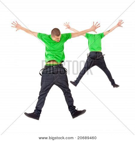 Two Male Break Dancers Jumping