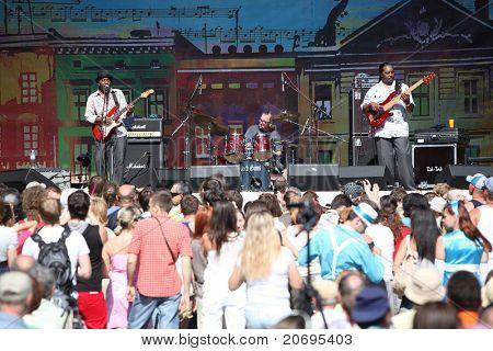 LVIL, UKRAINE - JUNE 3: Vasti Jackson Trio in concert during Alfa Jazz Festival on June 3, 2011 in Lviv, Ukraine.