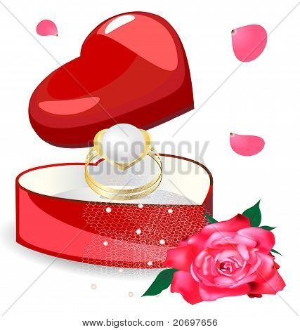pearl ring in the box-heart